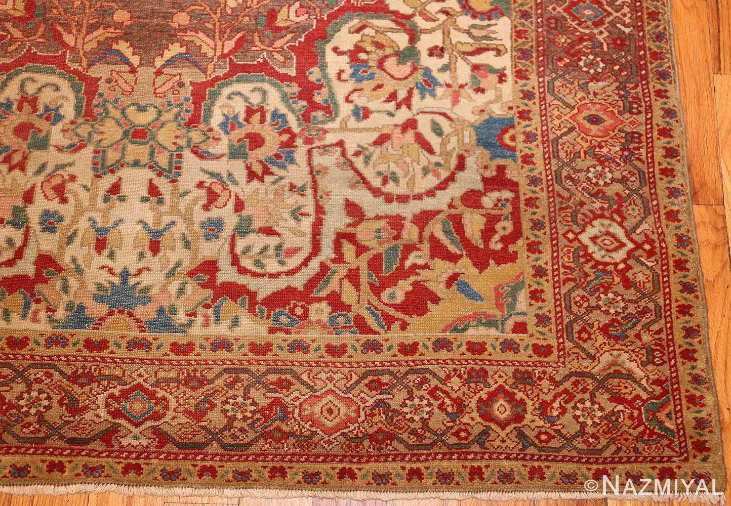 antique ivory persian mishan malayer rug 48611 corner Nazmiyal
