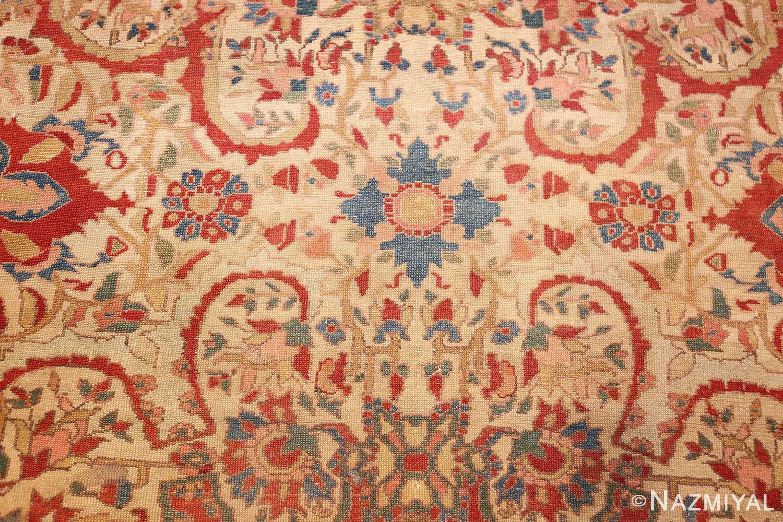 antique ivory persian mishan malayer rug 48611 medallion Nazmiyal