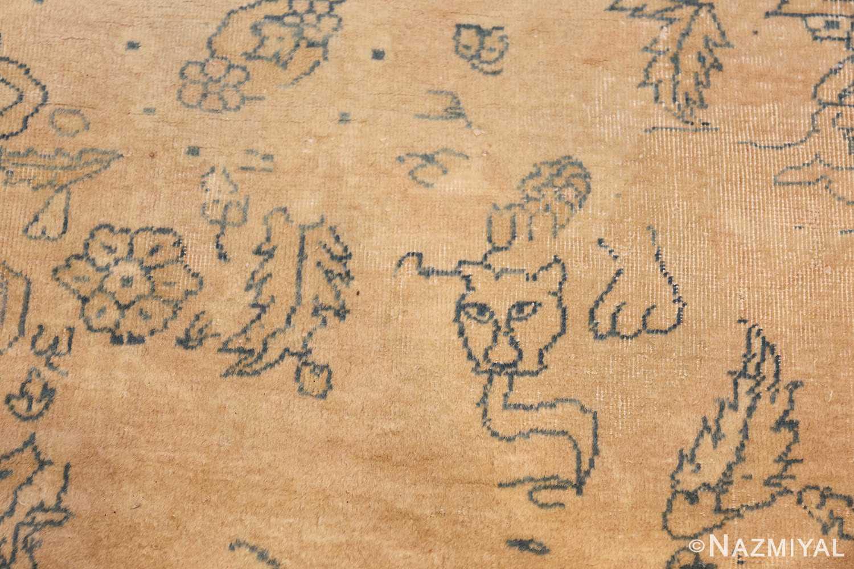 antique large indian agra rug 49167 lioness Nazmiyal