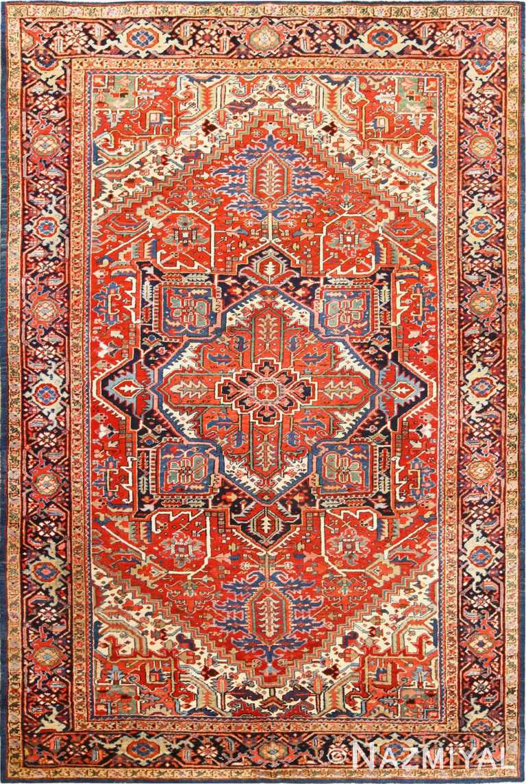 Antique Pesrian Medallion Heriz Rug 49105