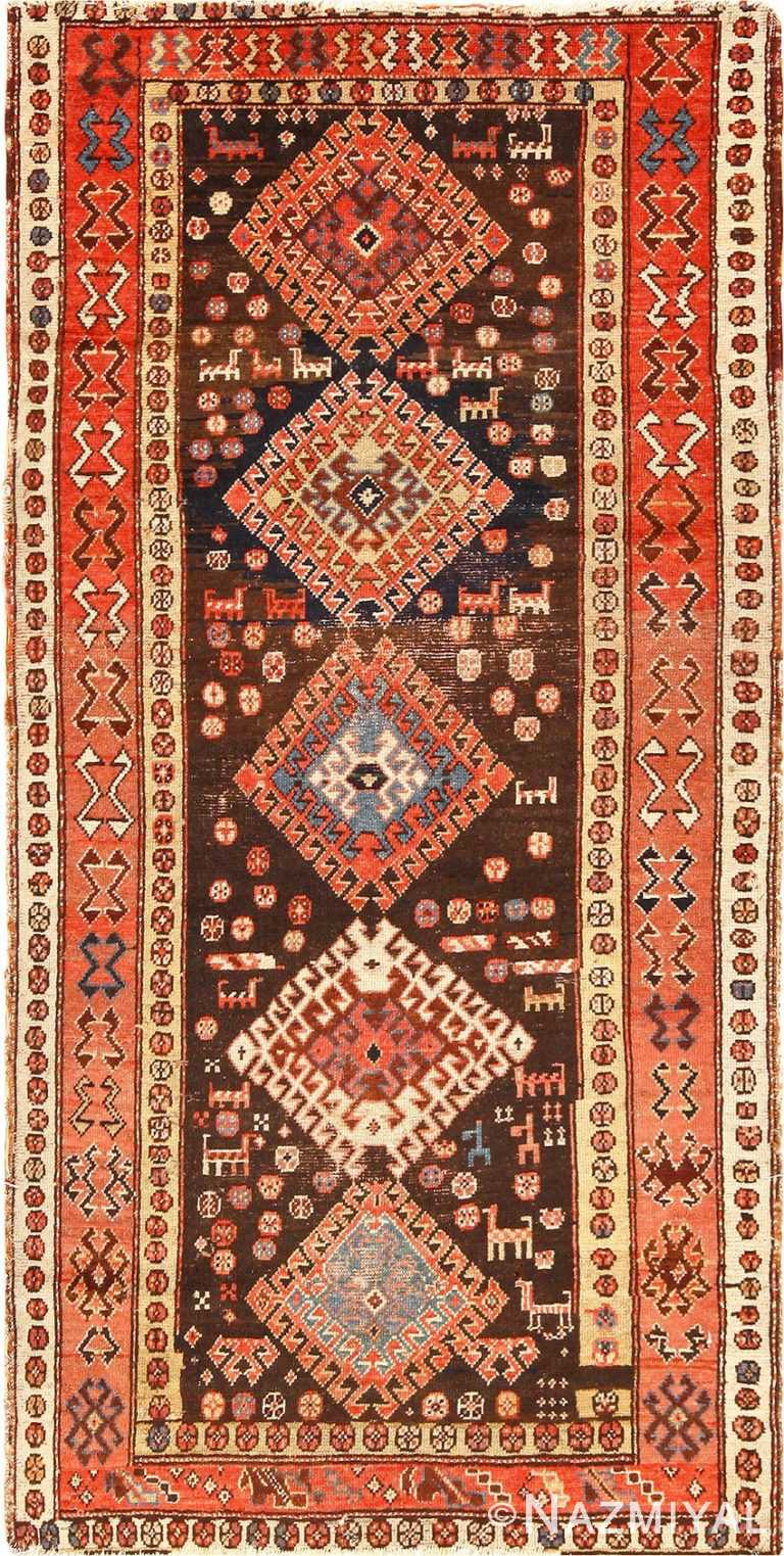 Antique Tribal Persian Kurdish Shabby Chic Rug 49150 Nazmiyal