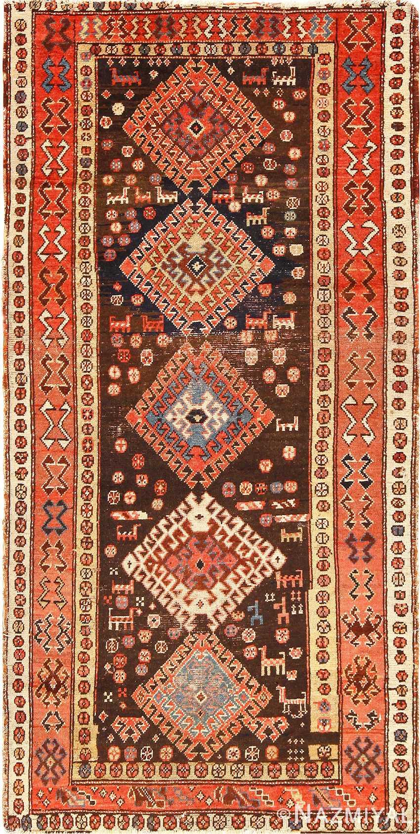 Antique Tribal Persian Kurdish Shabby Chic Rug 49150 Nazmiyal