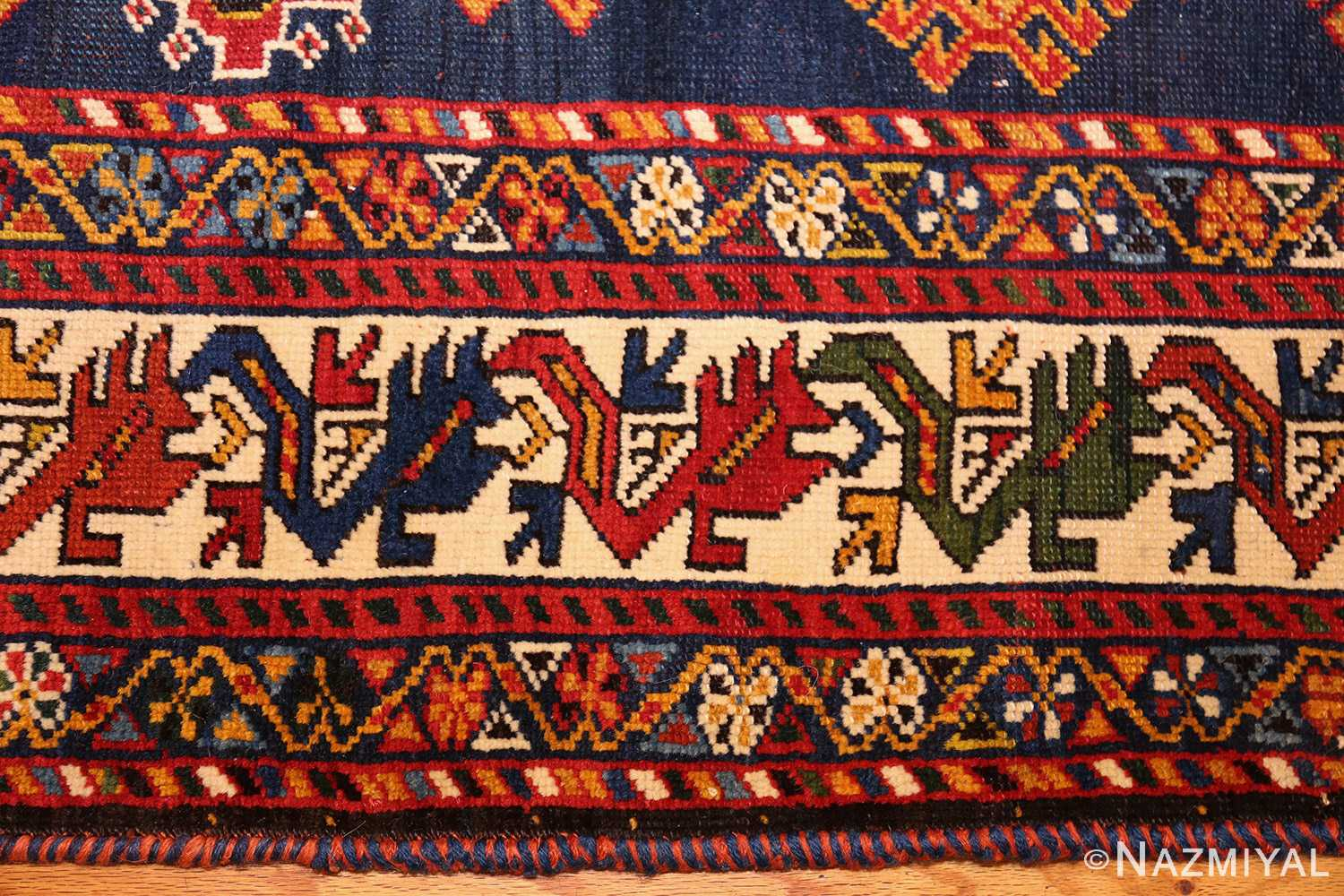 antique tribal persian qashqai rug 49152 border Nazmiyal