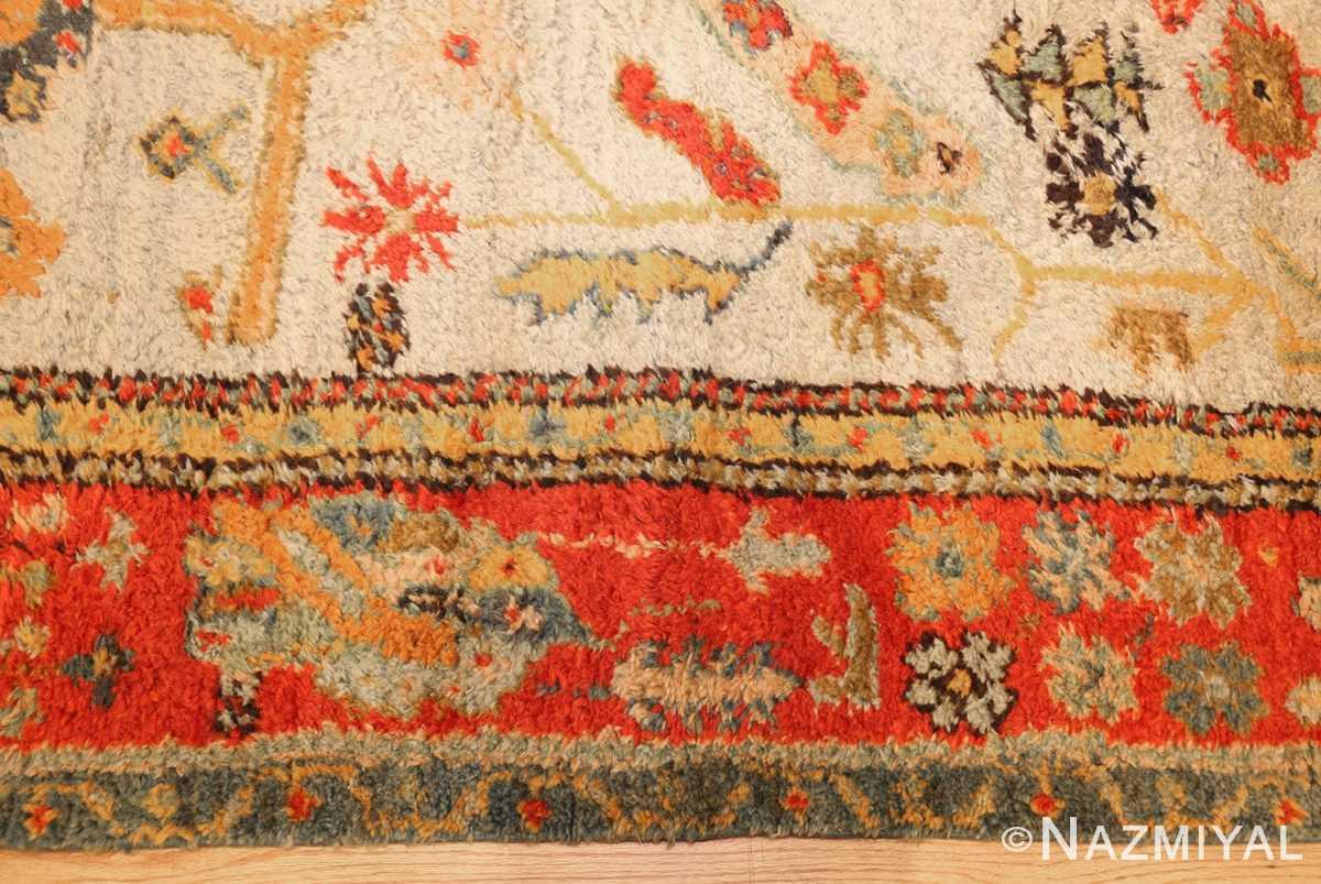 antique turkish oushak rug with arts and crafts design 49146 border Nazmiyal