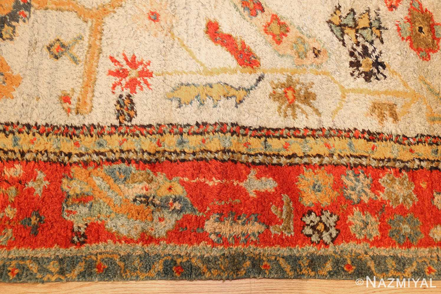 antique turkish oushak rug with arts and crafts design 49146 border Nazmiyal