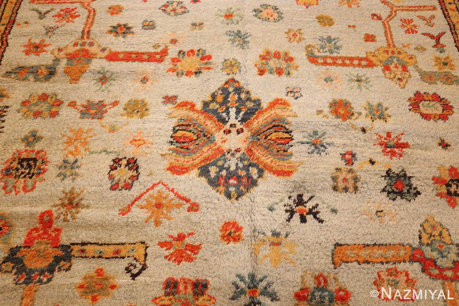 antique turkish oushak rug with arts and crafts design 49146 center Nazmiyal