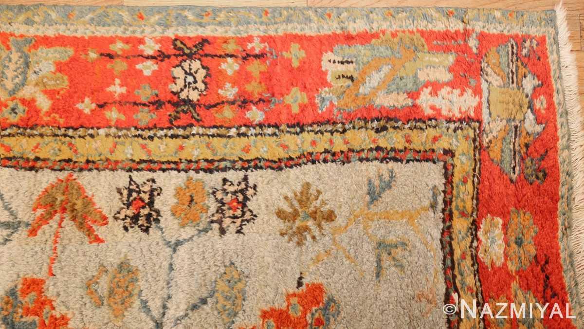 antique turkish oushak rug with arts and crafts design 49146 corner Nazmiyal