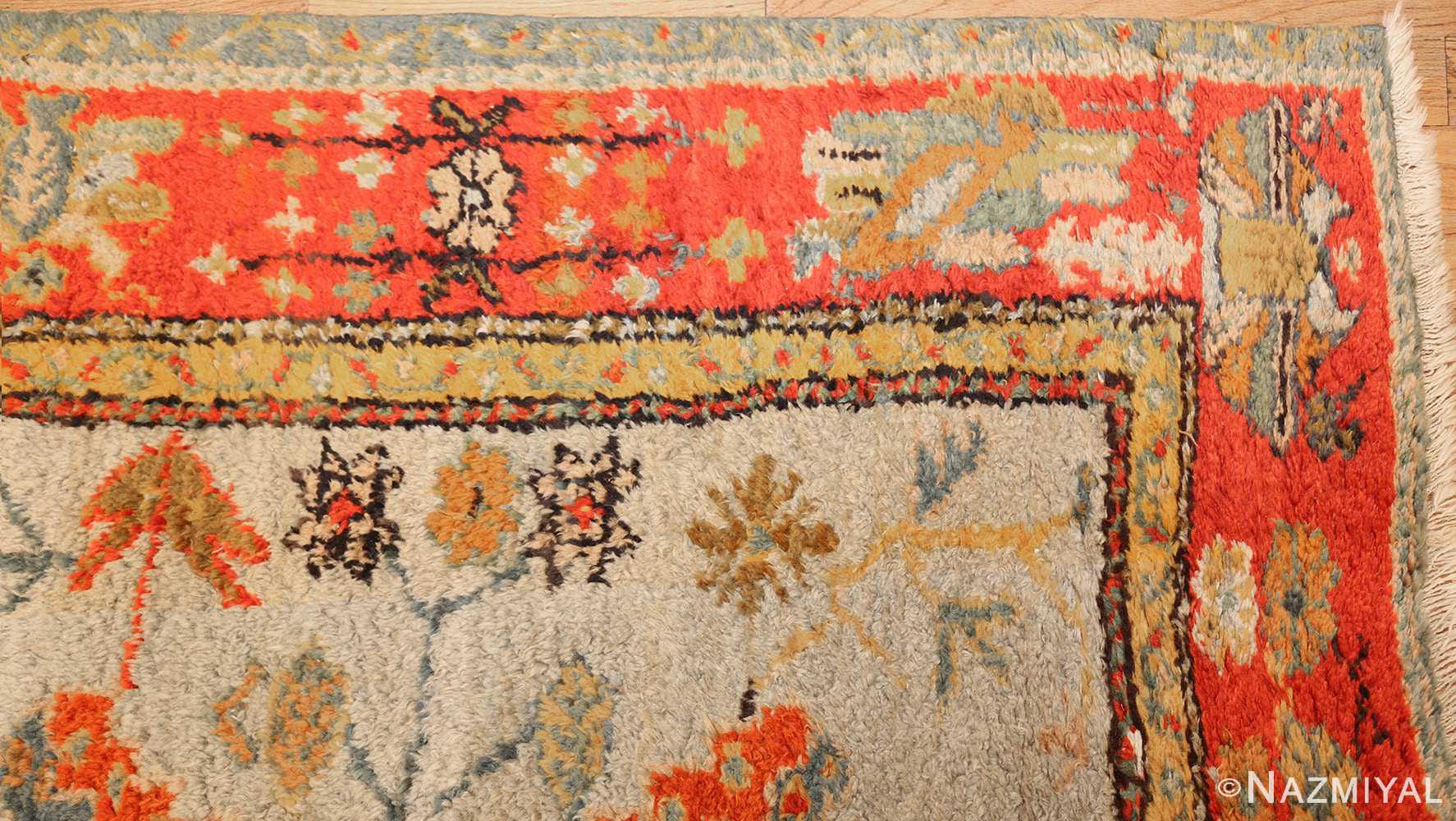 antique turkish oushak rug with arts and crafts design 49146 corner Nazmiyal