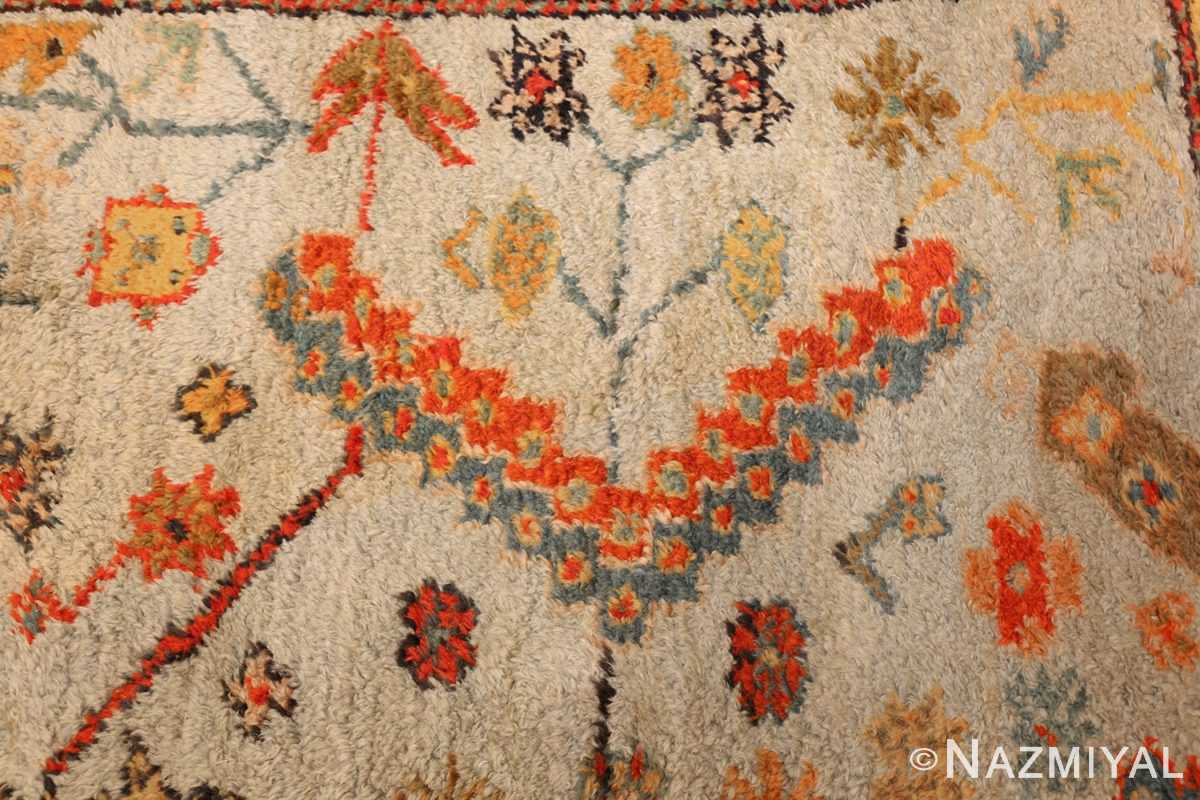 antique turkish oushak rug with arts and crafts design 49146 flowers Nazmiyal