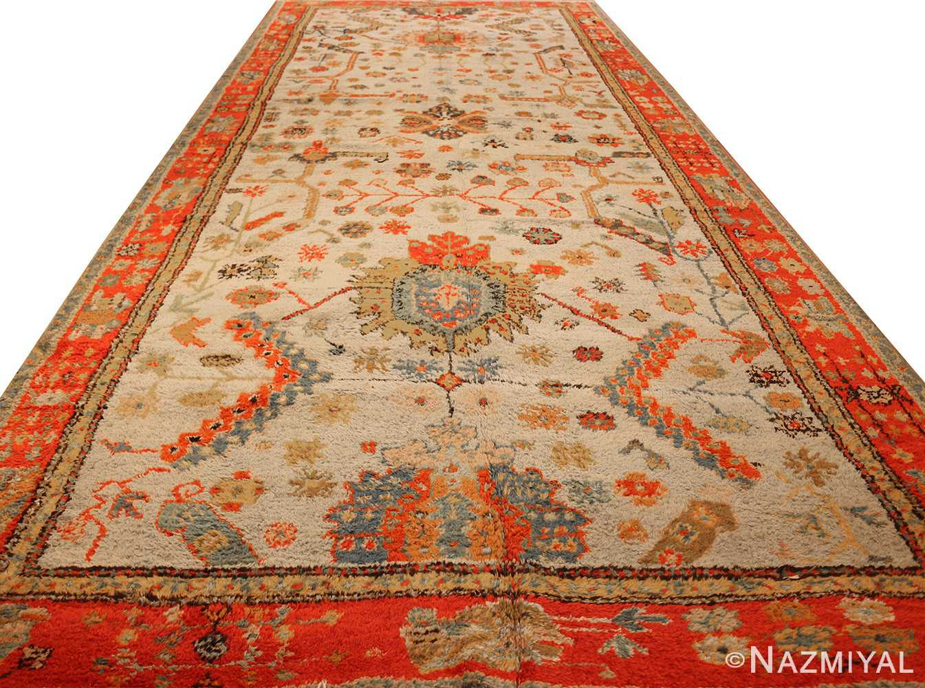 antique turkish oushak rug with arts and crafts design 49146 full Nazmiyal