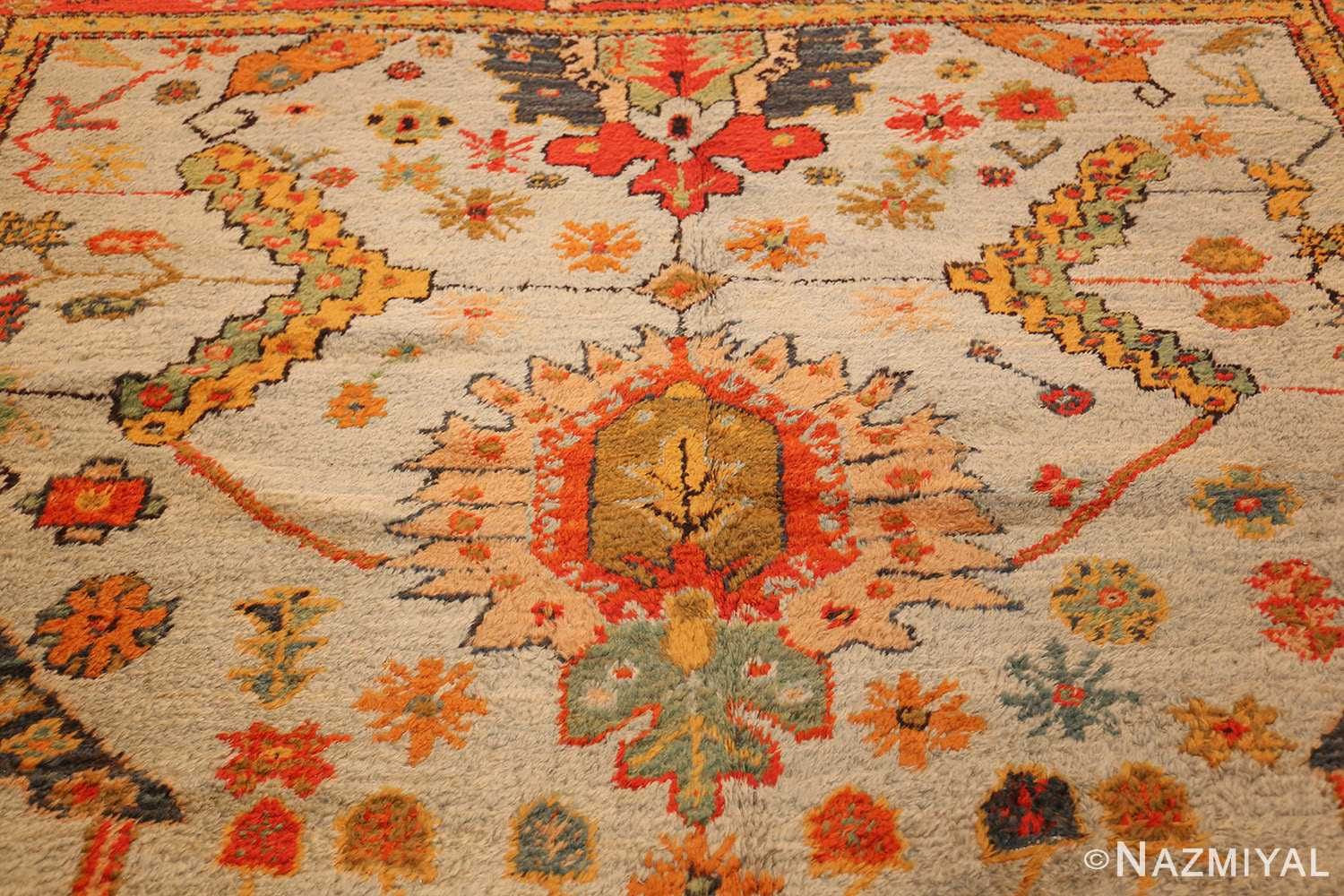 antique turkish oushak rug with arts and crafts design 49146 medallion Nazmiyal
