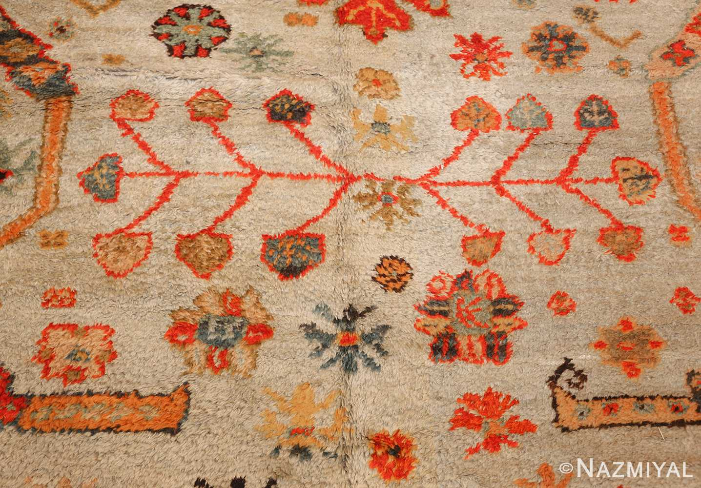 antique turkish oushak rug with arts and crafts design 49146 middle Nazmiyal