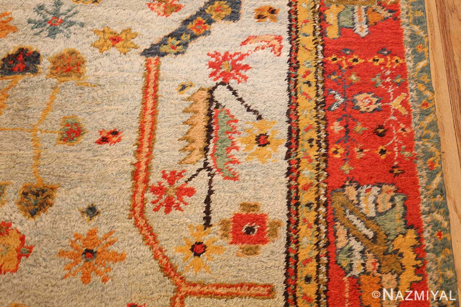 antique turkish oushak rug with arts and crafts design 49146 side Nazmiyal