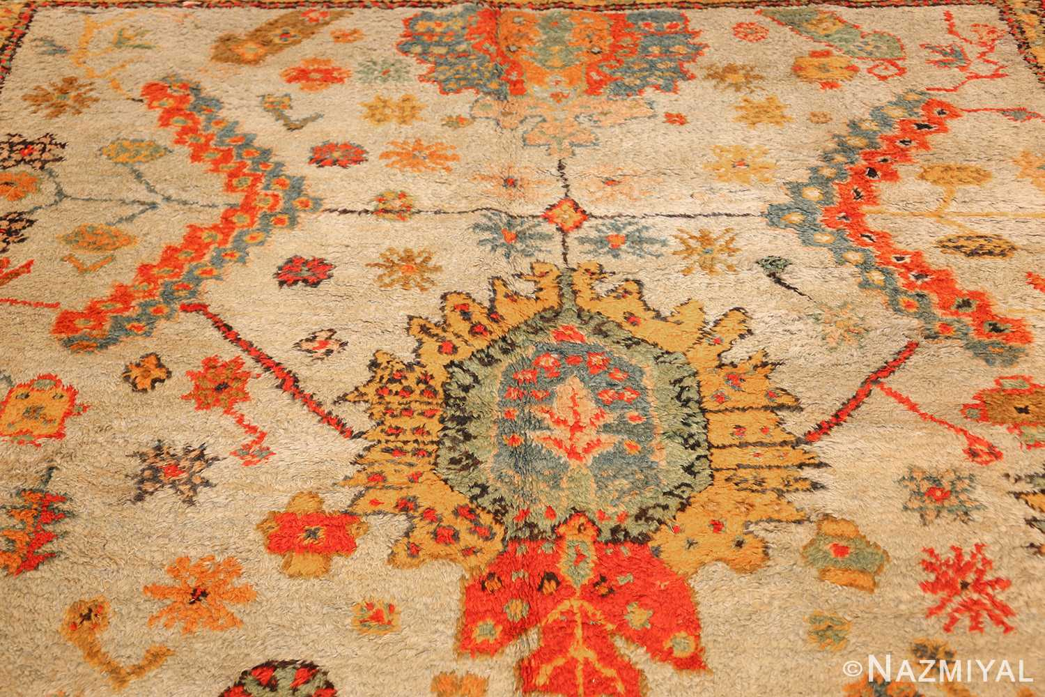 antique turkish oushak rug with arts and crafts design 49146 top Nazmiyal