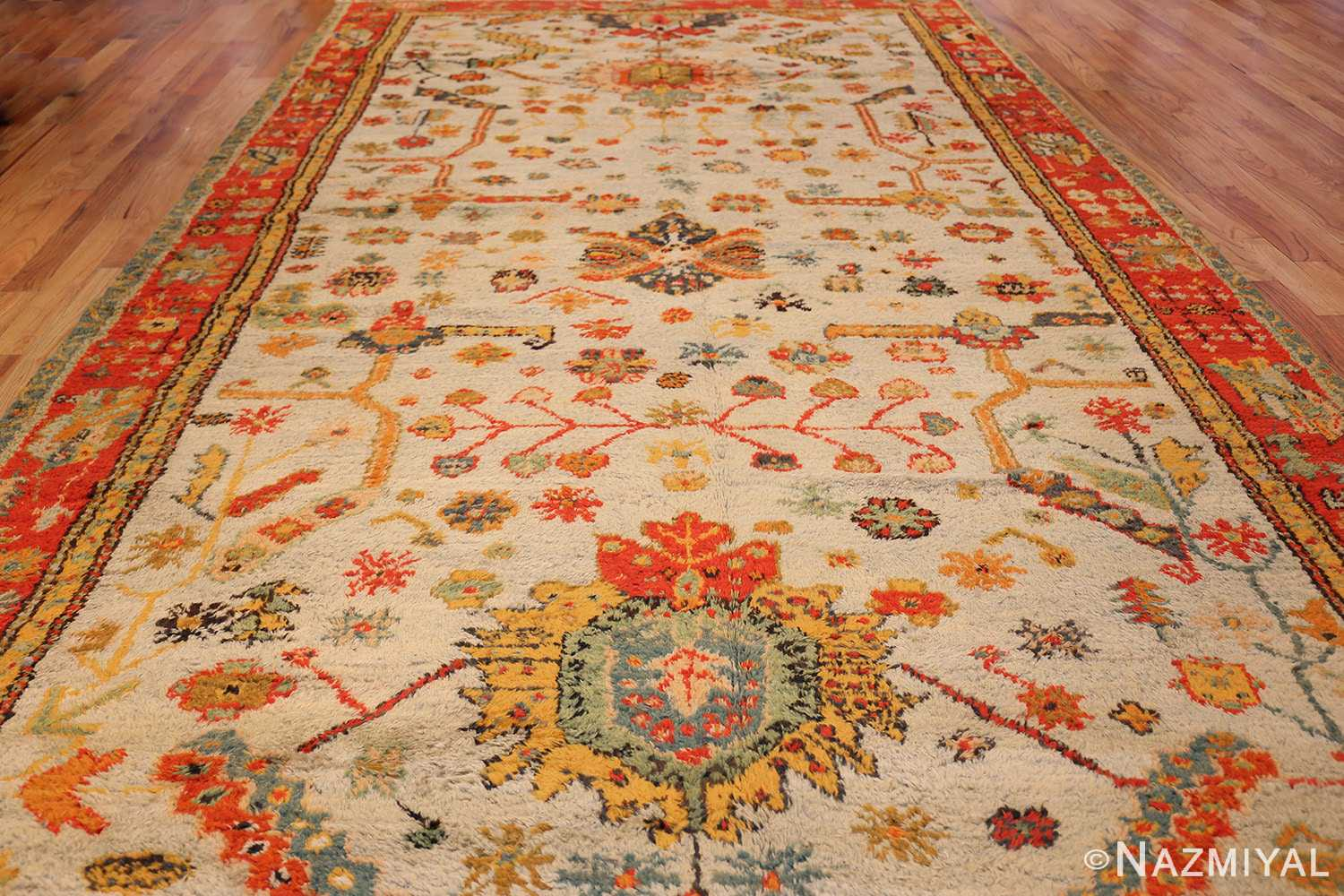 antique turkish oushak rug with arts and crafts design 49146 whole Nazmiyal