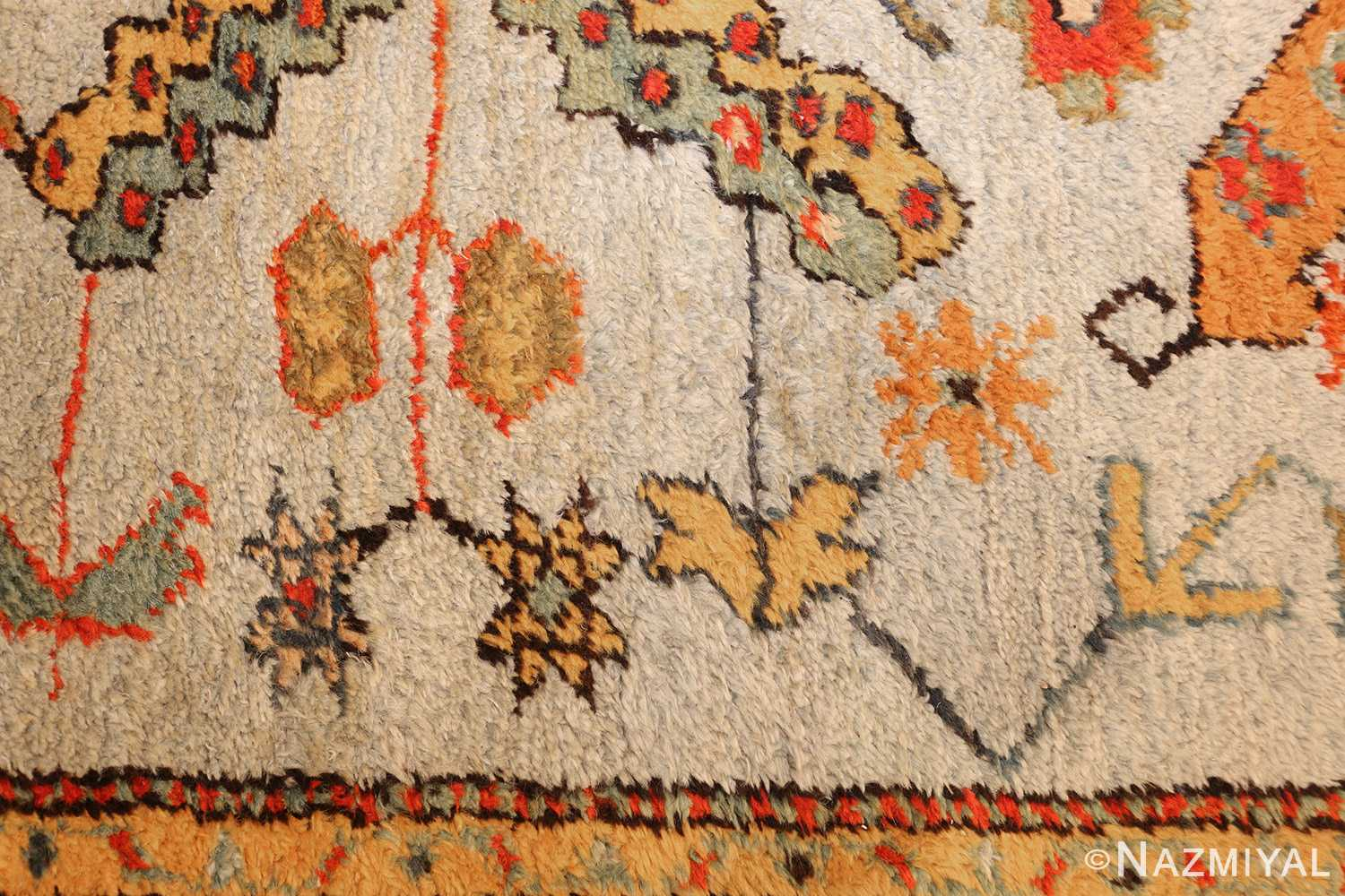 antique turkish oushak rug with arts and crafts design 49146 yellow Nazmiyal