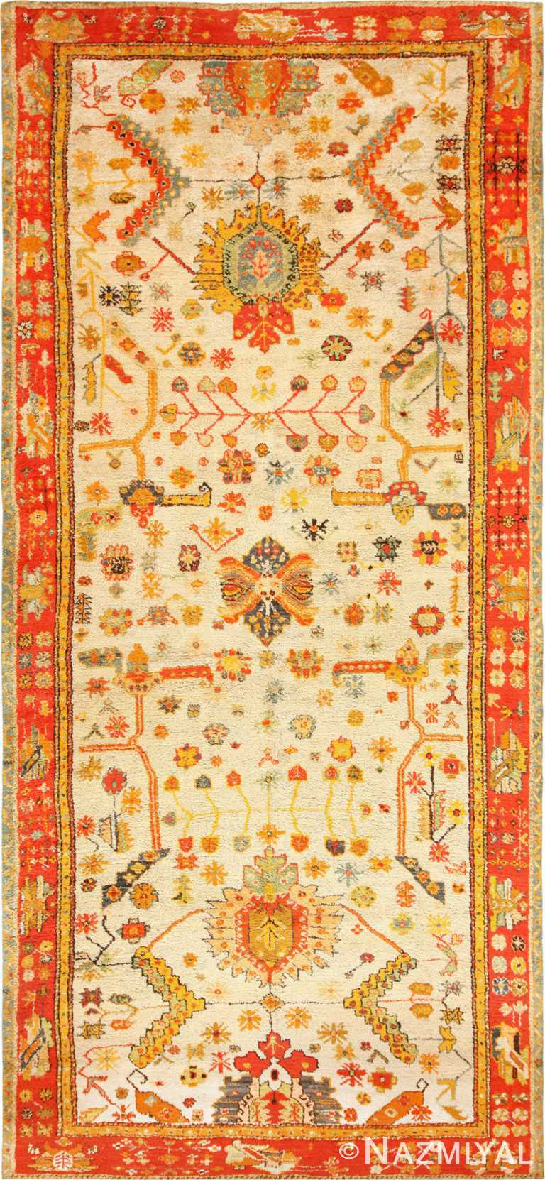 Antique Turkish Oushak Rug With Arts and Crafts Design 49146 by Nazmiyal