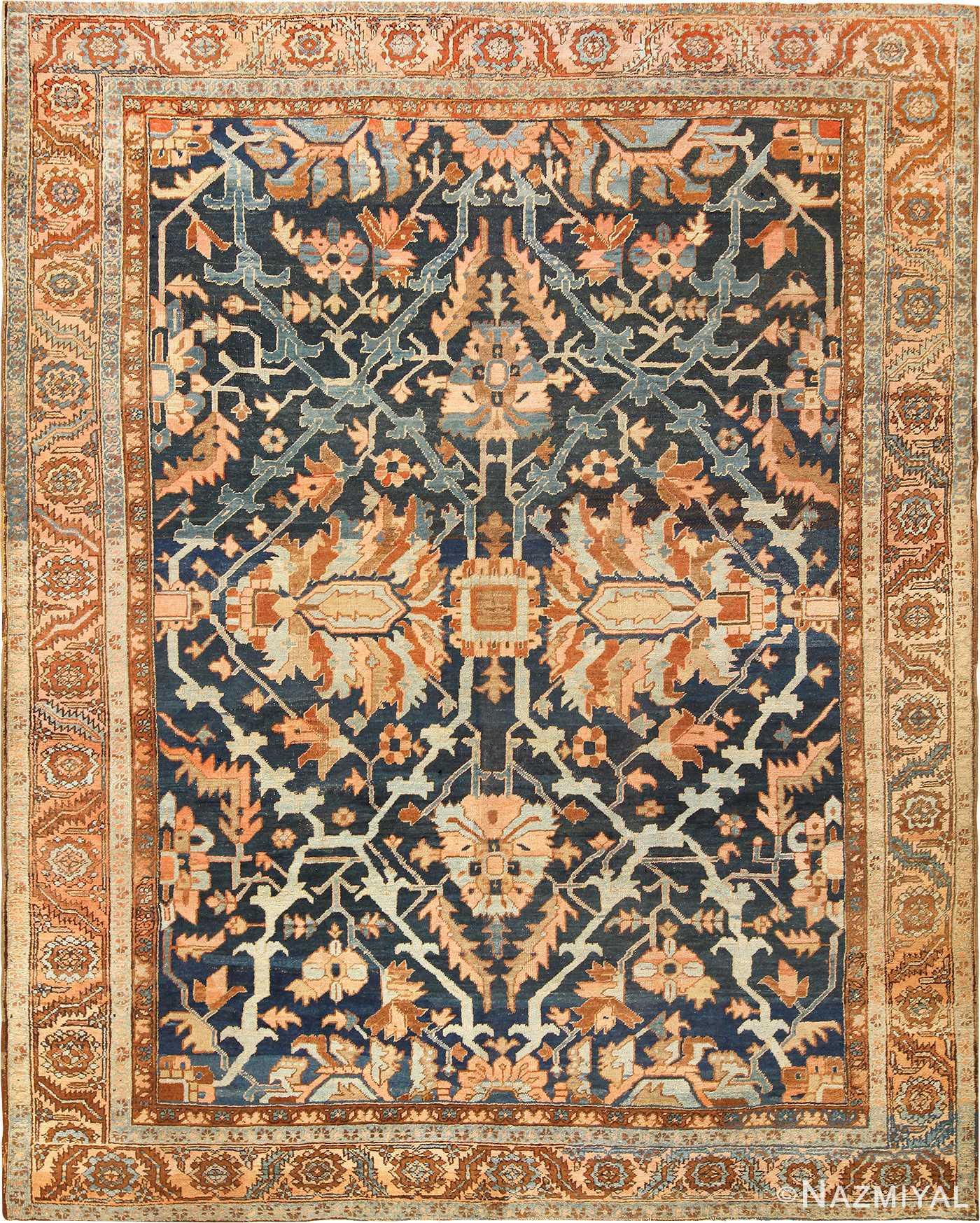 Blue Antique Room Size Persian Heriz Serapi Rug 49175 Nazmiyal