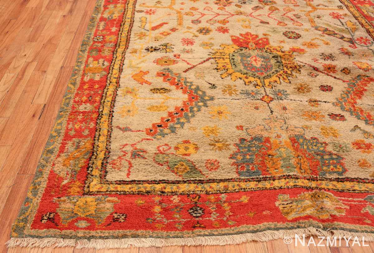 Corner Antique Turkish Oushak rug with Arts and Crafts design 49146 by Nazmiyal