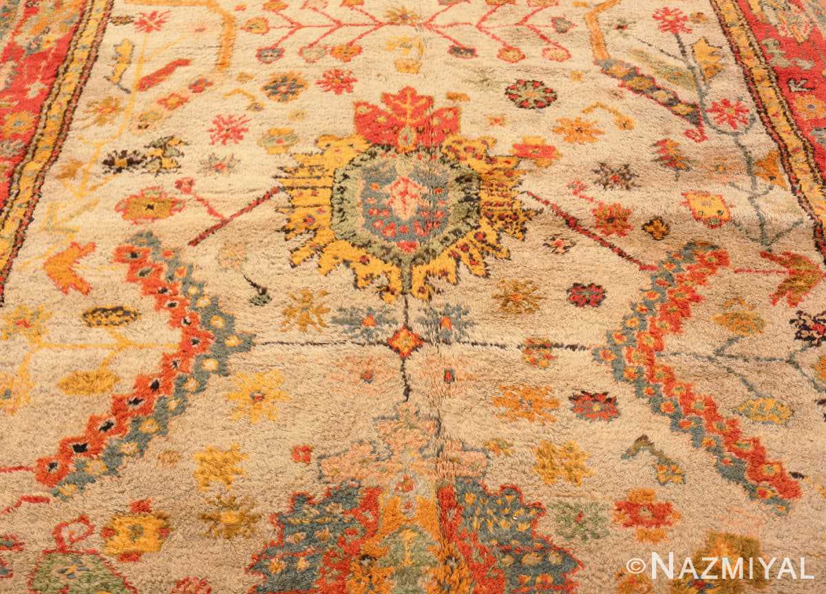 Field Antique Turkish Oushak rug with Arts and Crafts design 49146 by Nazmiyal
