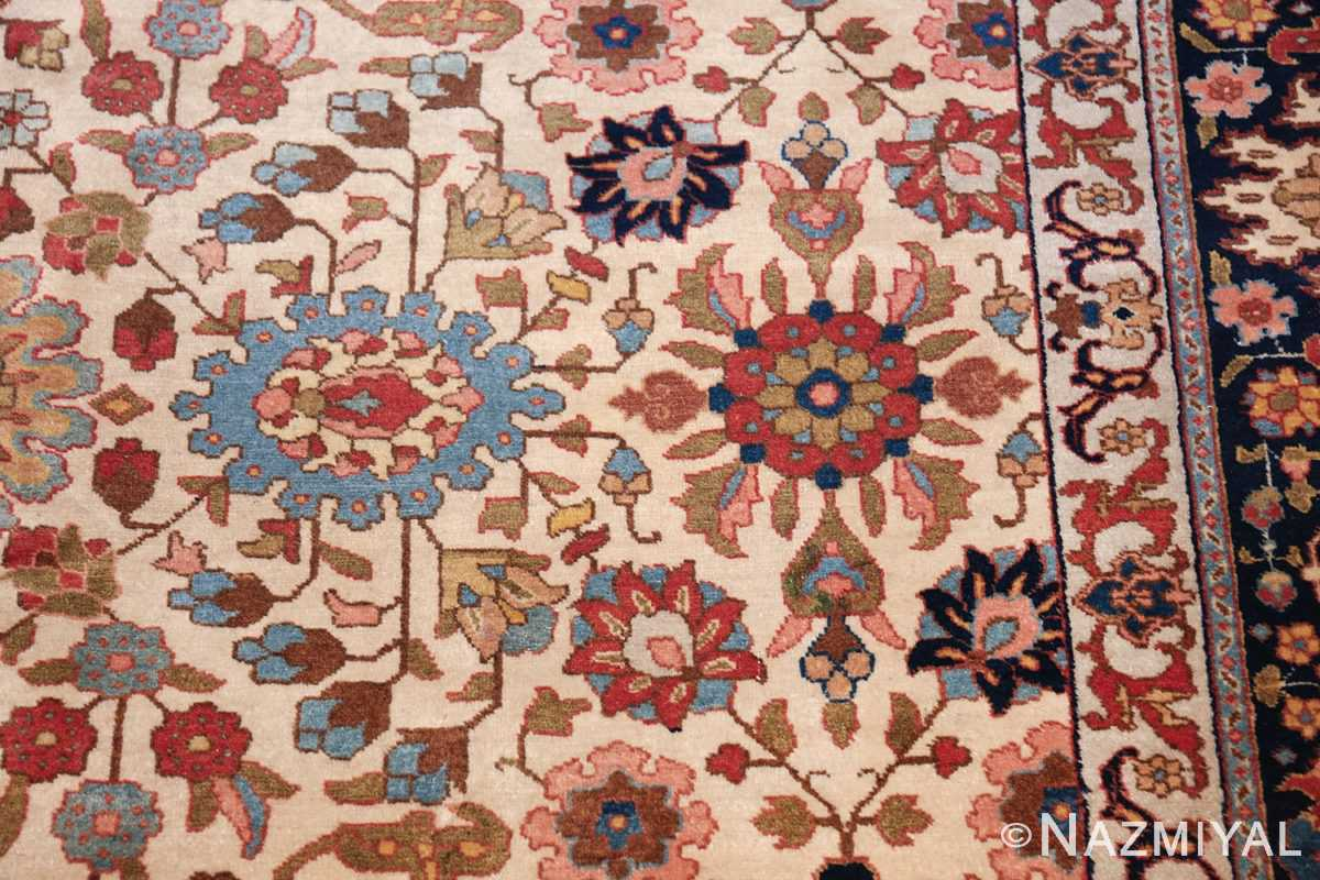fine antique ivory background persian tabriz rug 49191 blue Nazmiyal
