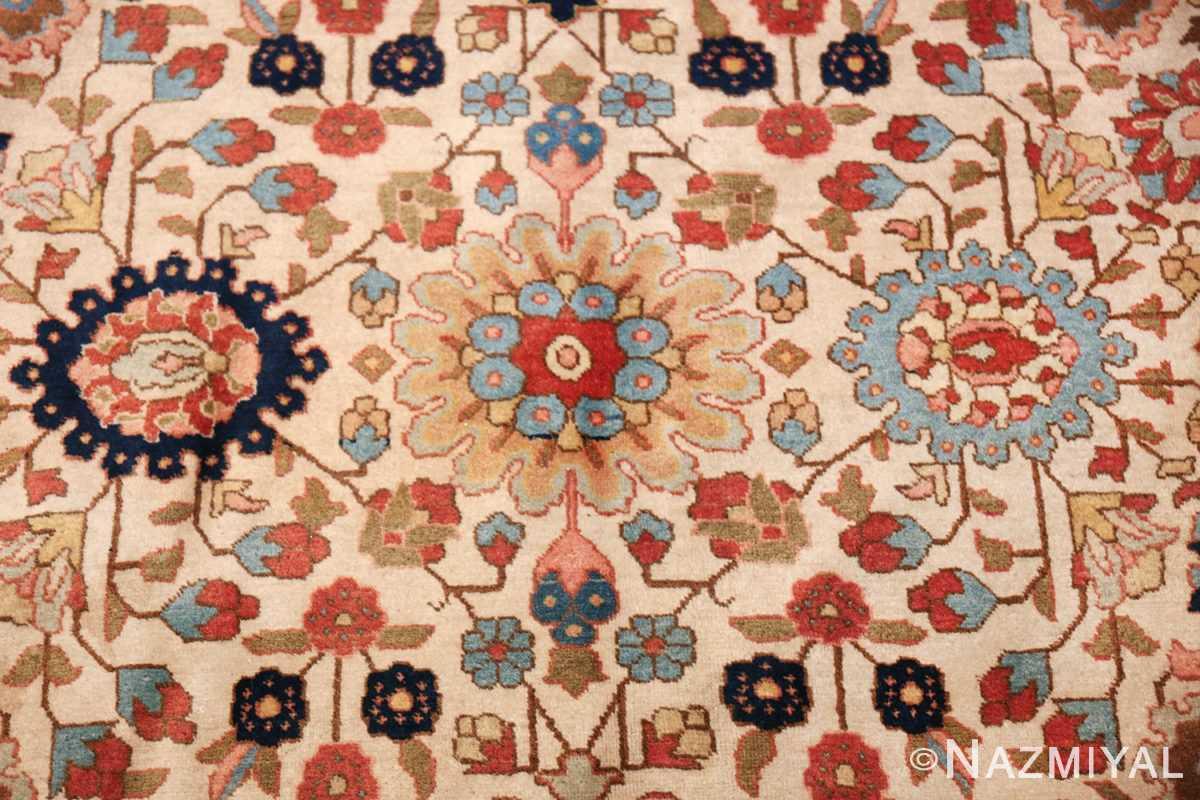 fine antique ivory background persian tabriz rug 49191 closeup Nazmiyal
