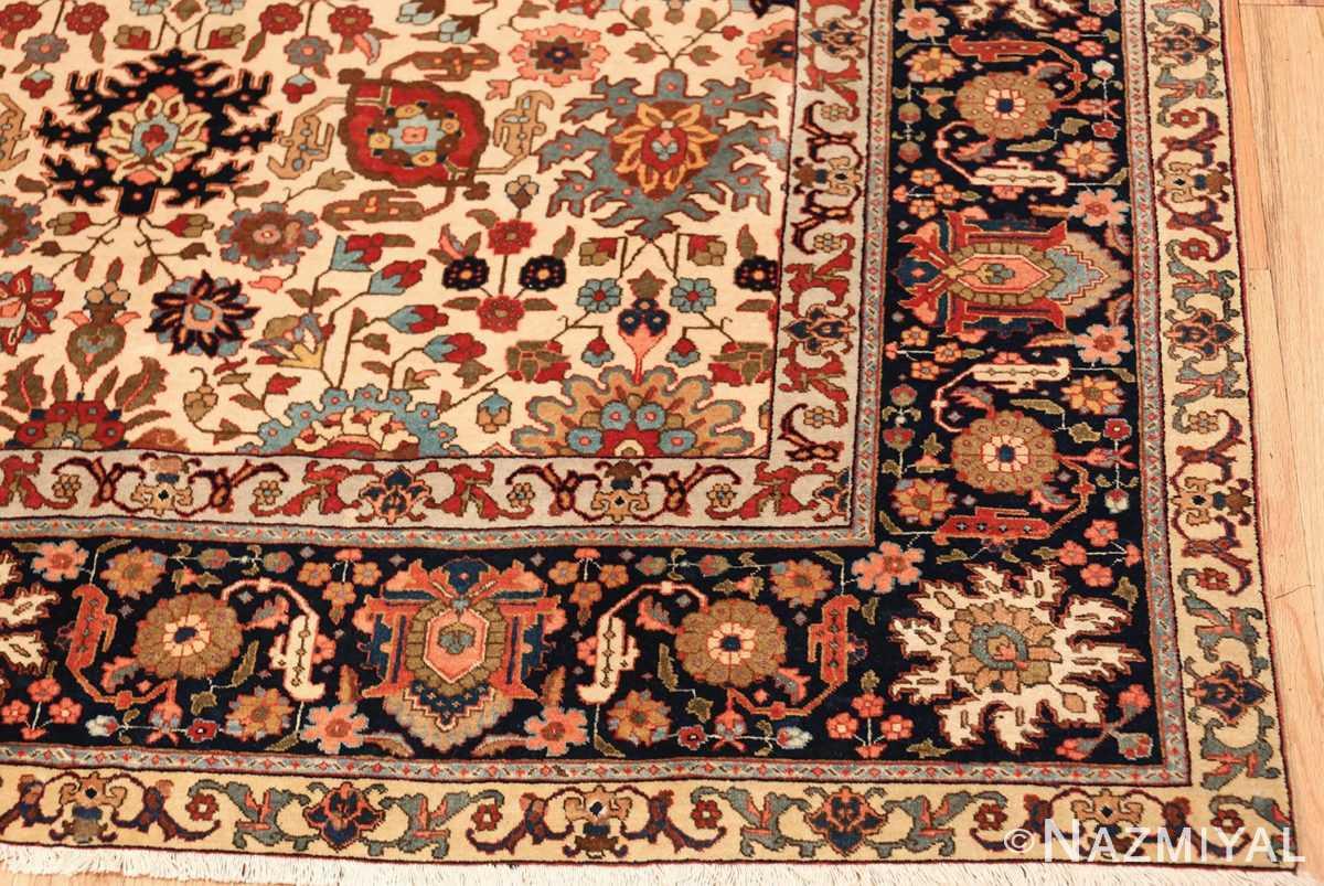 fine antique ivory background persian tabriz rug 49191 corner Nazmiyal