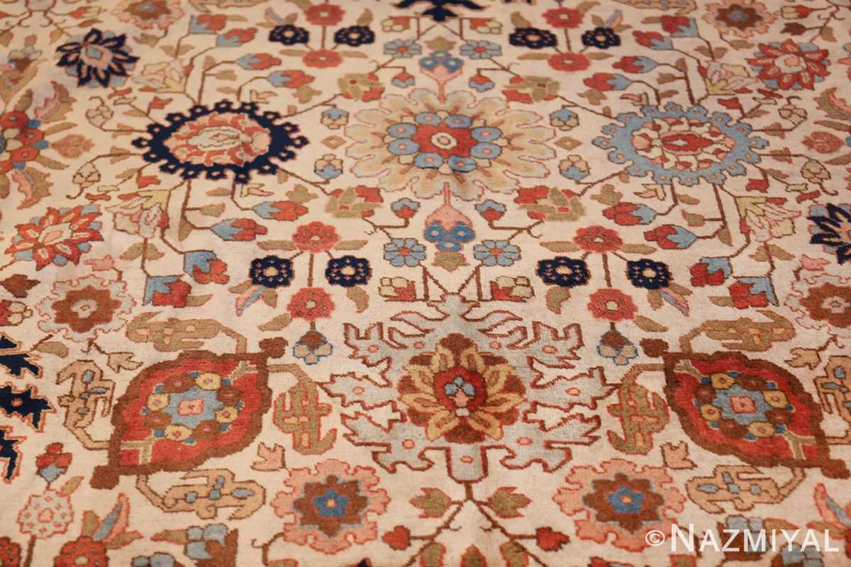 fine antique ivory background persian tabriz rug 49191 design Nazmiyal