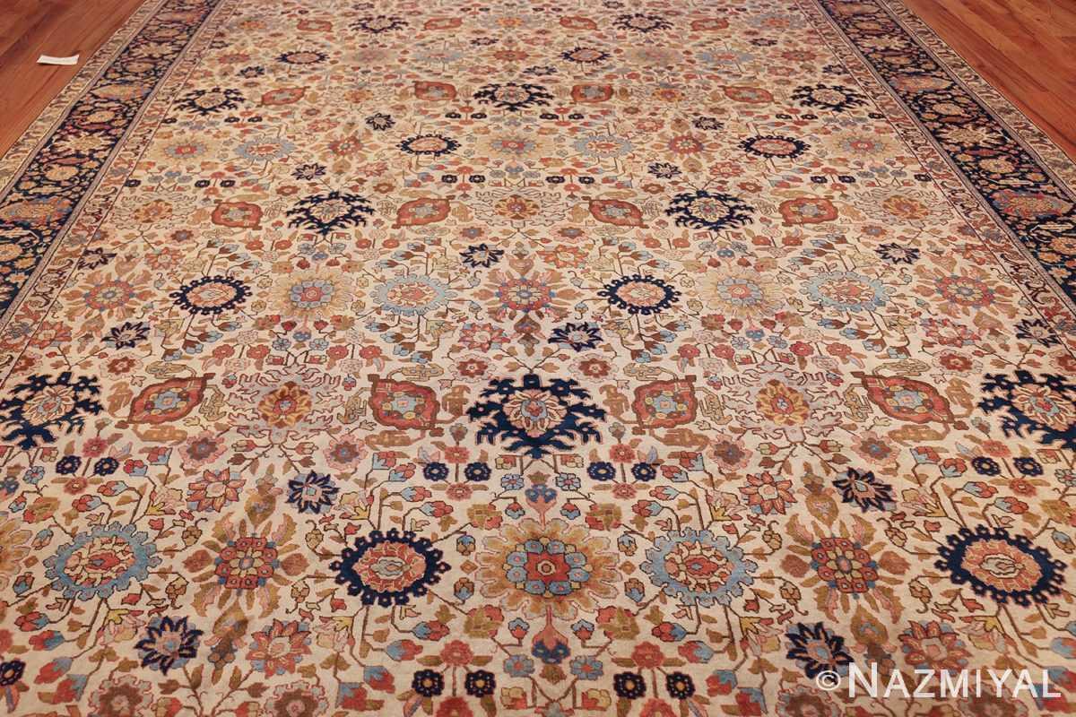 fine antique ivory background persian tabriz rug 49191 field Nazmiyal
