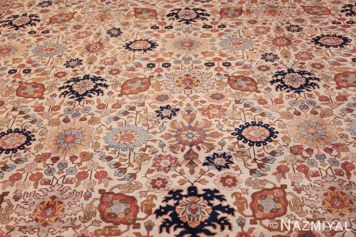 fine antique ivory background persian tabriz rug 49191 middle Nazmiyal