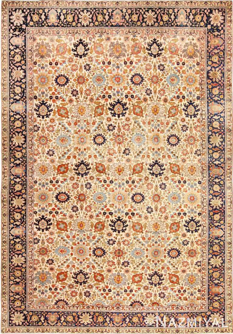 Fine Antique Ivory Background Persian Tabriz Rug 49191 by Nazmiyal