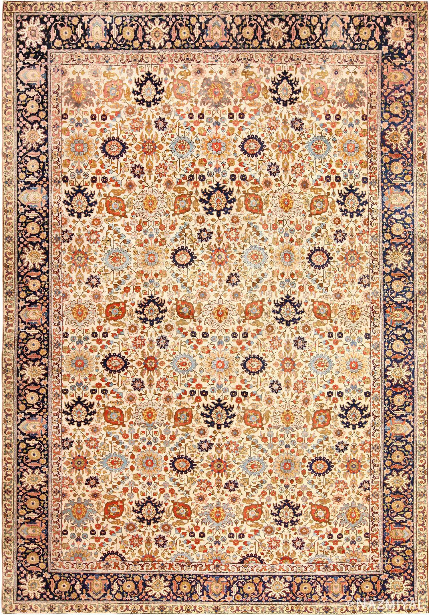 Fine Antique Ivory Background Persian Tabriz Rug 49191 by Nazmiyal