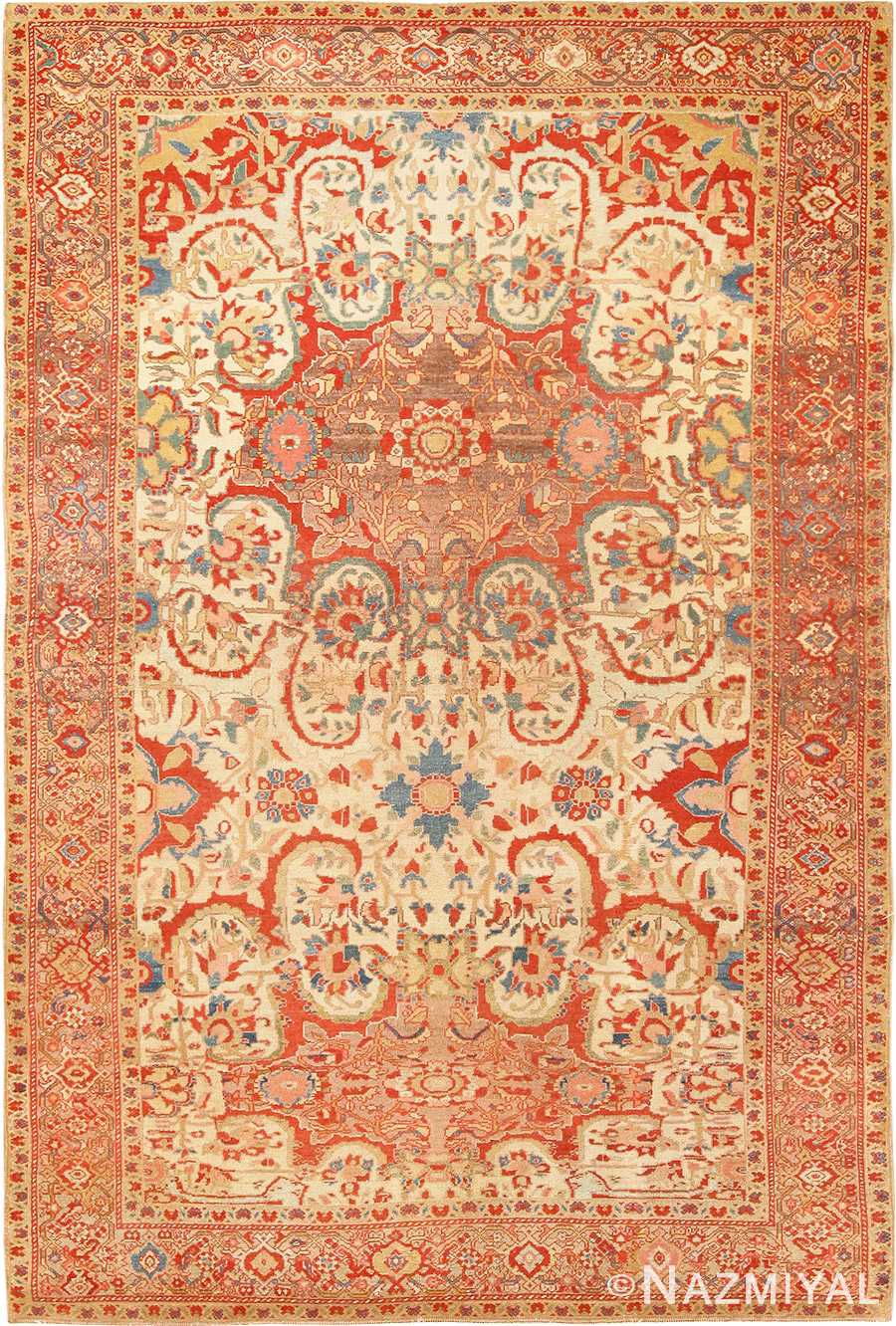 Fine Antique Ivory Persian Mishan Malayer Rug 48611