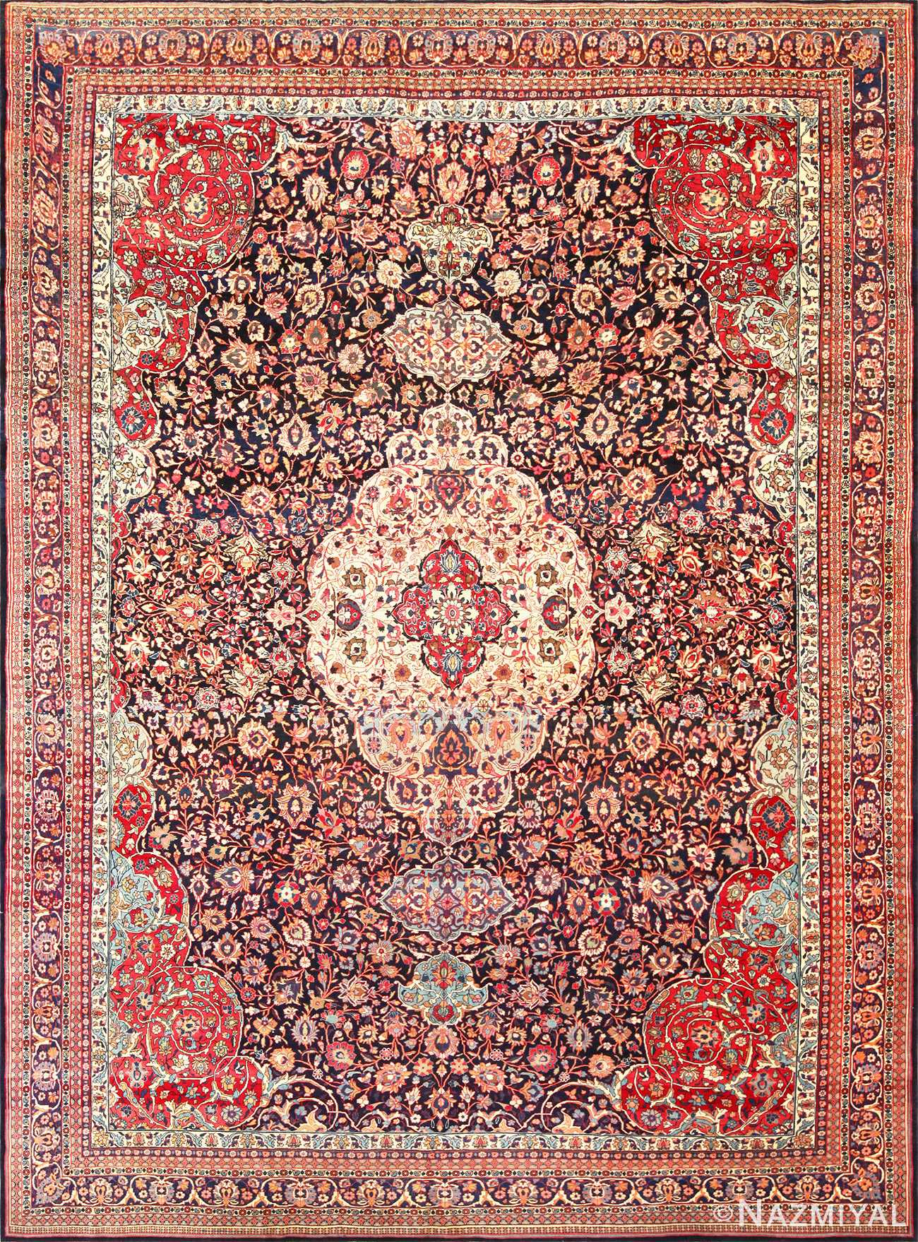 fine antique persian tehran rug 49194 Nazmiyal