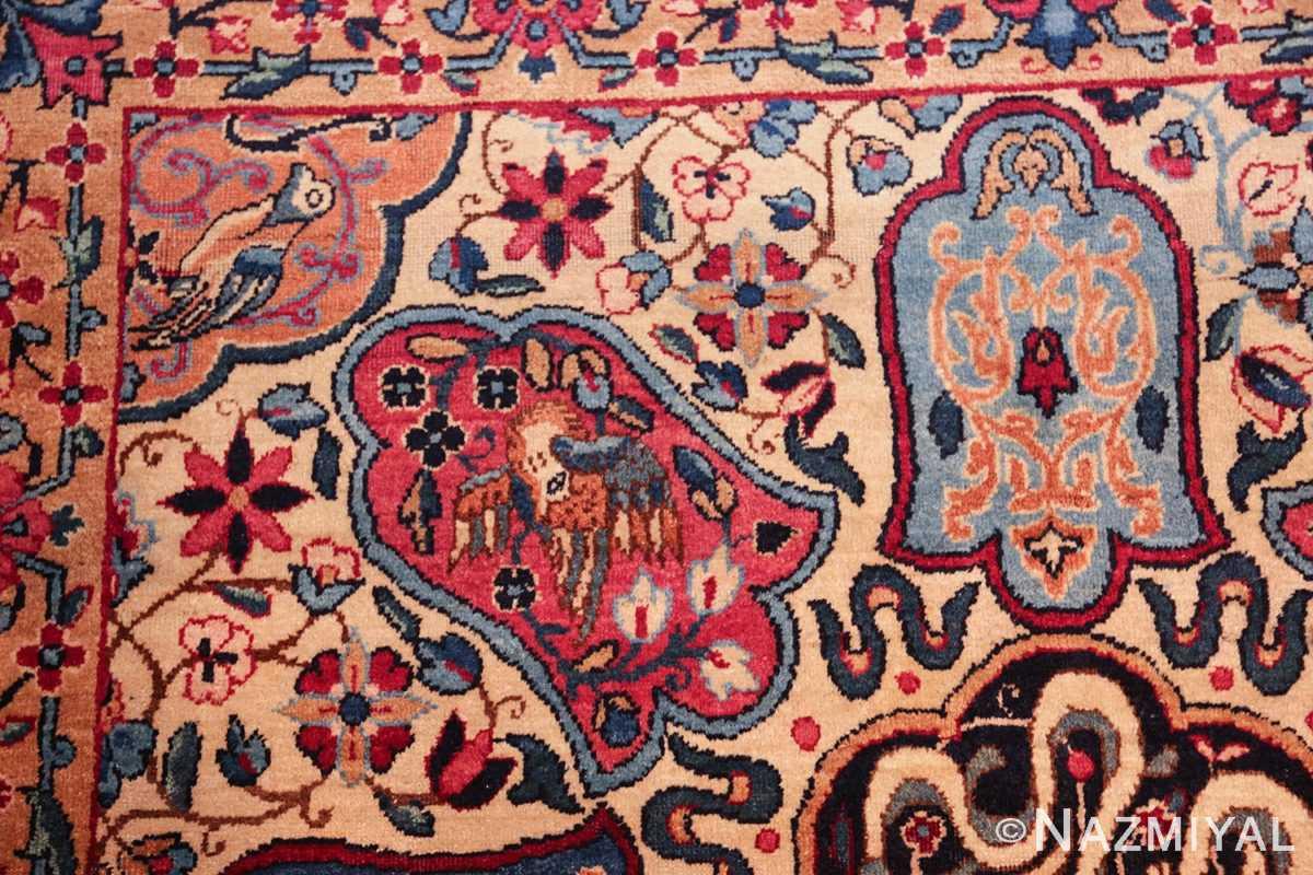 fine beautiful ivory antique persian floral kerman rug 49190 bird Nazmiyal
