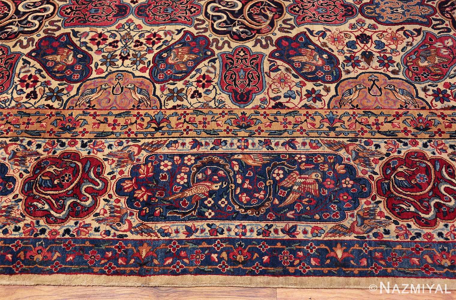 fine beautiful ivory antique persian floral kerman rug 49190 border Nazmiyal