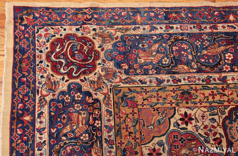 fine beautiful ivory antique persian floral kerman rug 49190 corner Nazmiyal
