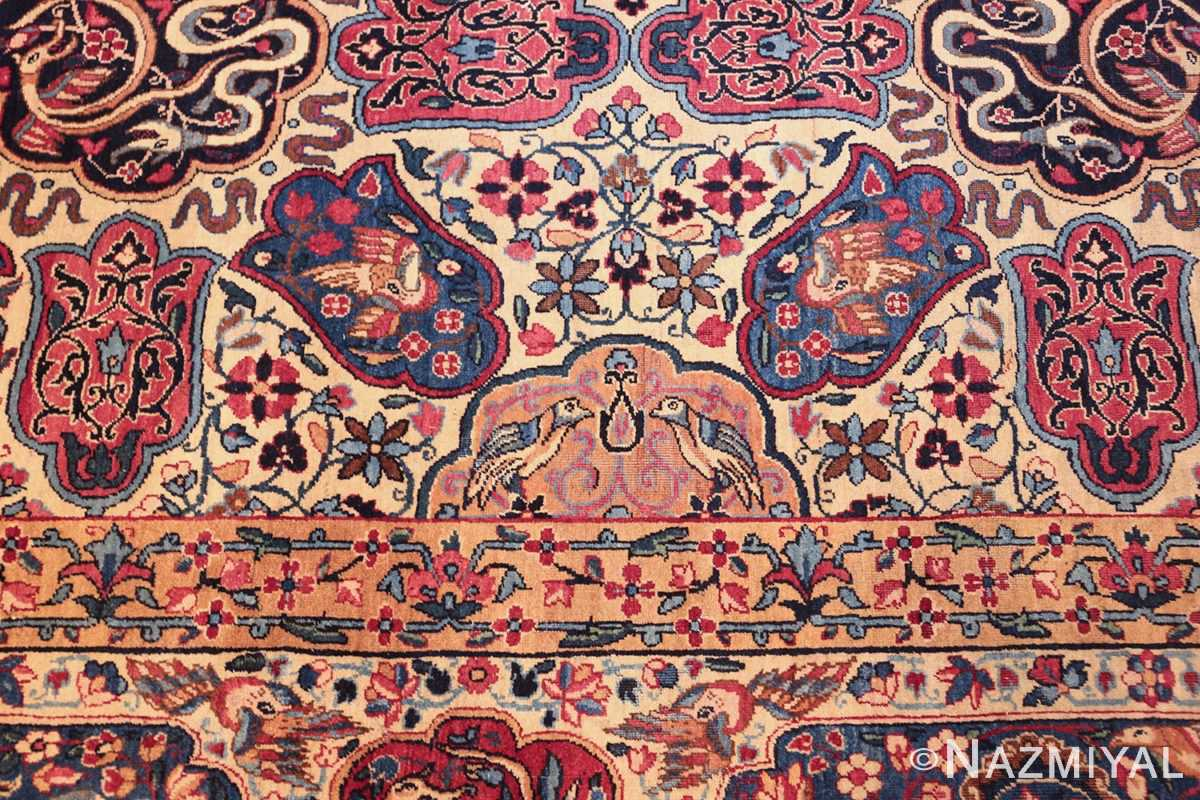 fine beautiful ivory antique persian floral kerman rug 49190 design Nazmiyal