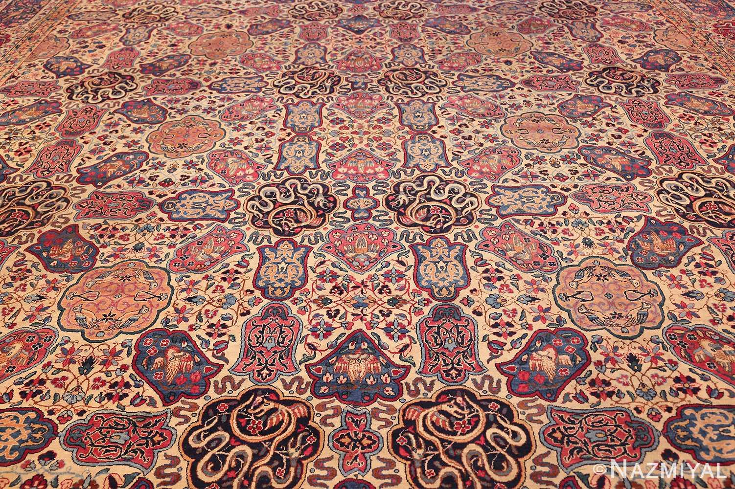 fine beautiful ivory antique persian floral kerman rug 49190 field Nazmiyal