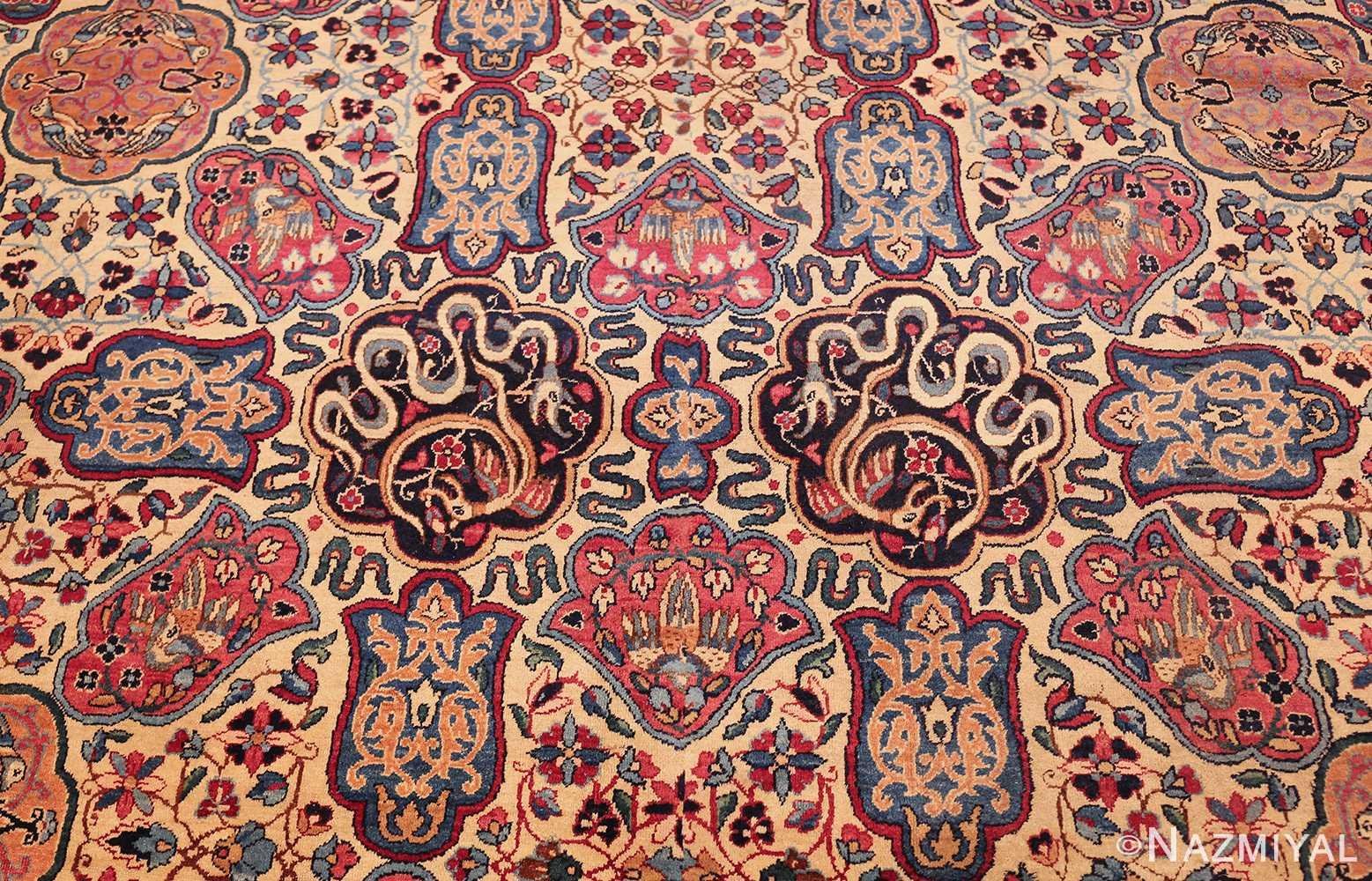 fine beautiful ivory antique persian floral kerman rug 49190 middle Nazmiyal
