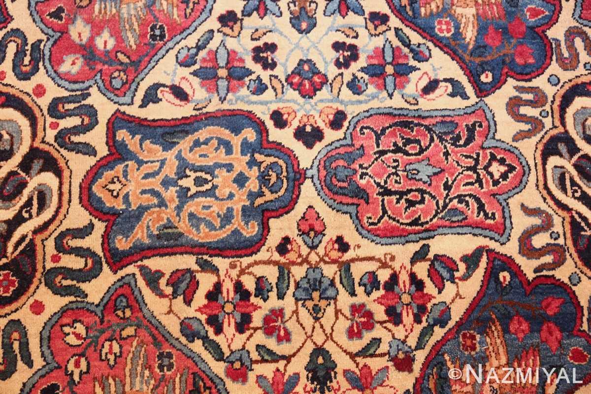 fine beautiful ivory antique persian floral kerman rug 49190 pattern Nazmiyal