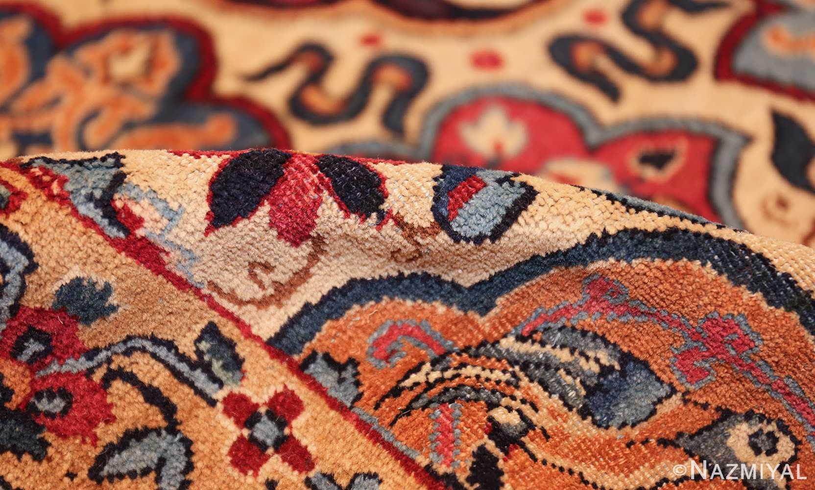fine beautiful ivory antique persian floral kerman rug 49190 pile Nazmiyal
