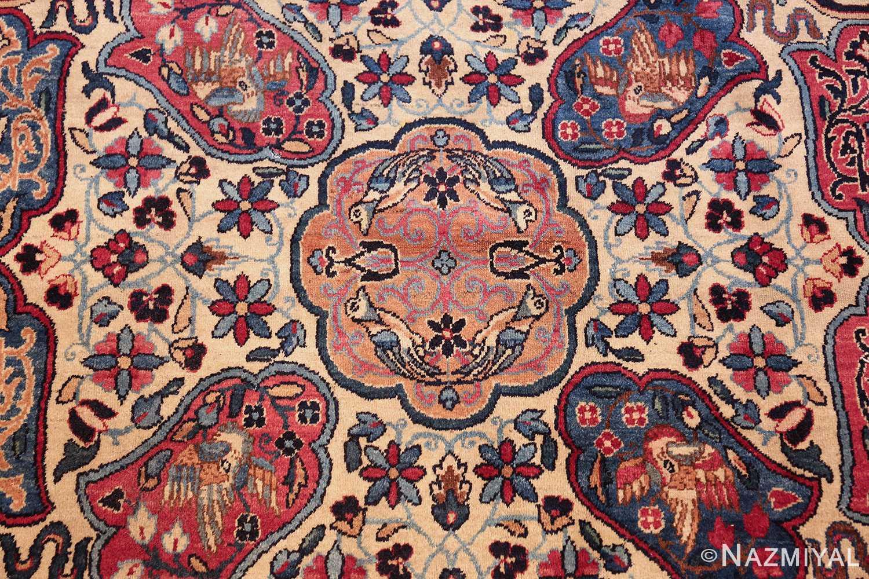 fine beautiful ivory antique persian floral kerman rug 49190 small Nazmiyal