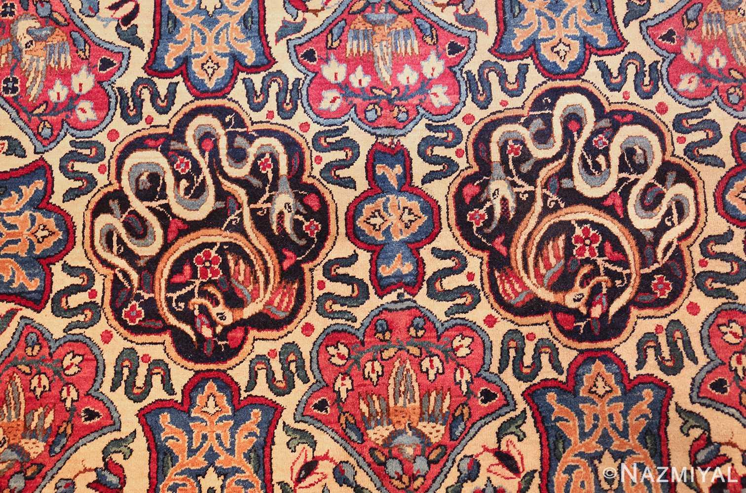 fine beautiful ivory antique persian floral kerman rug 49190 snakes Nazmiyal