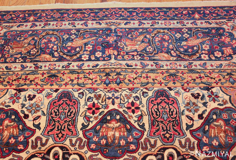 fine beautiful ivory antique persian floral kerman rug 49190 top