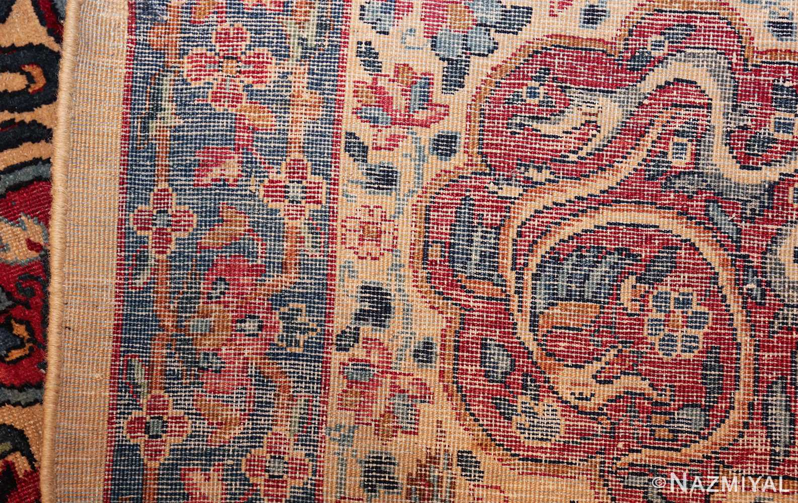 fine beautiful ivory antique persian floral kerman rug 49190 weave Nazmiyal