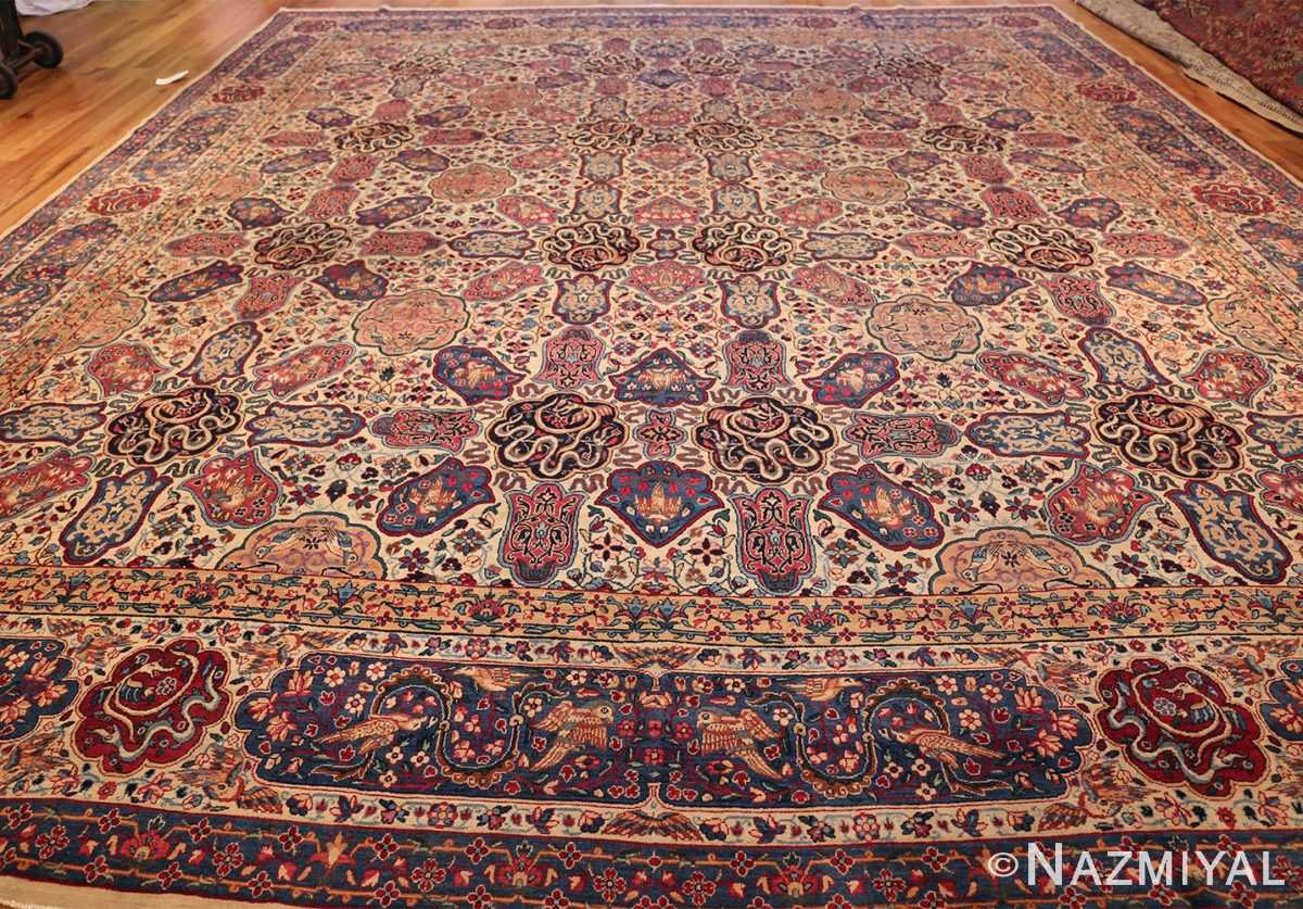 fine beautiful ivory antique persian floral kerman rug 49190 whole Nazmiyal