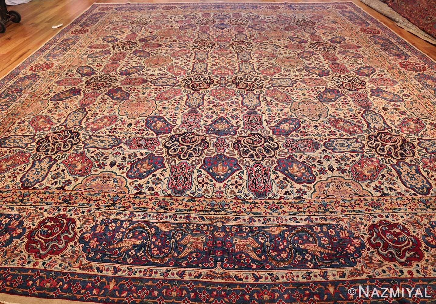fine beautiful ivory antique persian floral kerman rug 49190 whole Nazmiyal