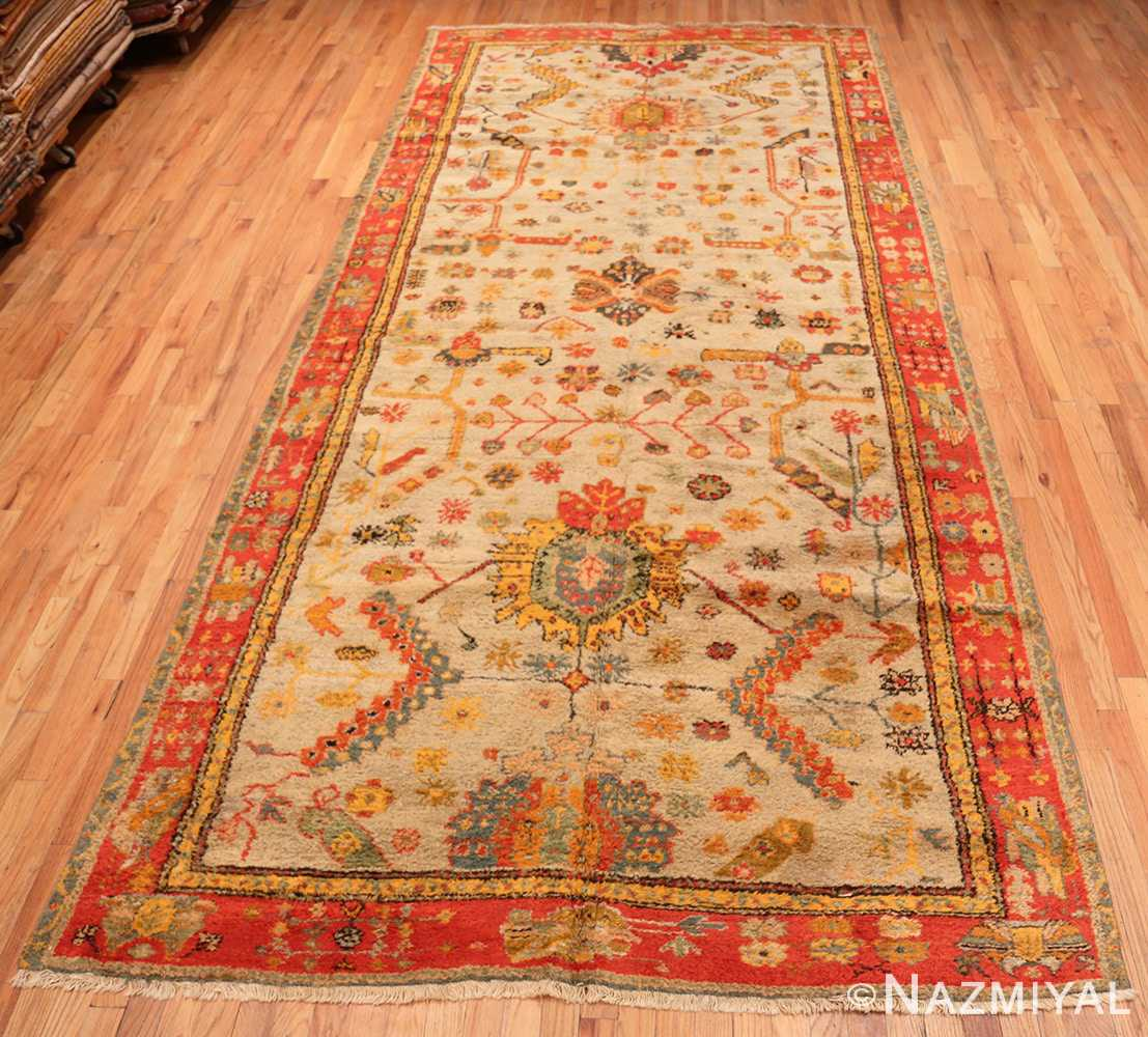 Full Antique Turkish Oushak rug with Arts and Crafts design 49146 by Nazmiyal