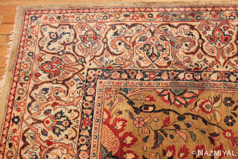 gold background antique persian sarouk farahan rug 49169 corner Nazmiyal